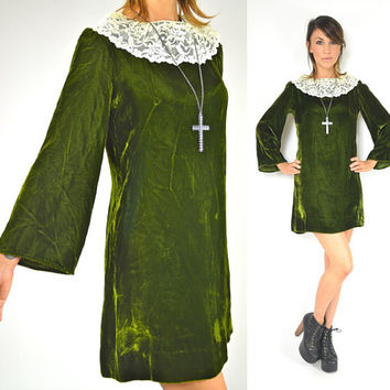 rare flirty green VELVET mini mod BABYDOLL twiggy DRESS, extra small-small