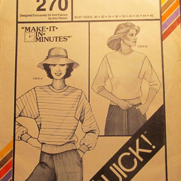 SALE Uncut 1980's Stretch & Sew Sewing Pattern, 270! Bust 30-32-34-36-38-40-42-44-46/Women's/Misses/Easy Make it in Minutes Popover Shirts/t