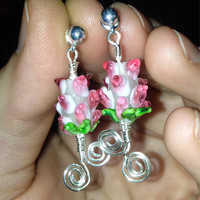 Hypoallergenic post dangle lampwork flower wire warpped earrings, women's flower dangle earrings
