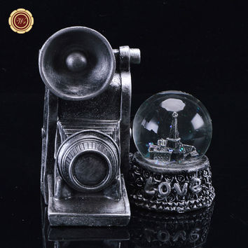 WR Vintage Silver Camera Model Crystal Ball Creative LED Light Snow Globe 14X9X15 Cm Home Office Decor Gift