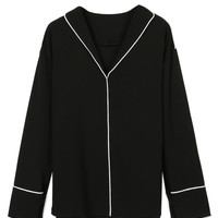 Black V-neck Contrast Trims Pajama Style Chiffon Shirt
