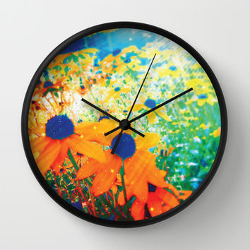 Flowers in the Sun Wall Clock by NisseDesigns