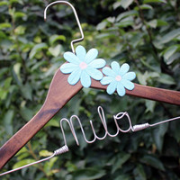 Cherry Bridal hanger with coral flower, flower bridal hanger, flower hanger, hanger with flower, coral flower hanger, bride hanger