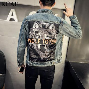 2017 New Arrival Fashion Denim Jacket Men Printed Wolf Design Men Jeans Jackets Slim Fit Casual Hip Hop Coats M-5XL