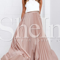 Pink Pleated Maxi Skirt -SheIn(Sheinside)