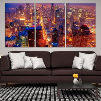 79282 - Chicago Wall Art Canvas Print - Extra Large Chicago City Night Canvas Print