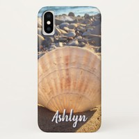 California sandy beach seashell photo custom name iPhone x case
