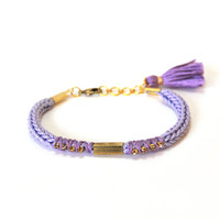 Lavender bracelet, friendship bracelet with tassel, knit bracelet with rhinestones