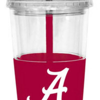 NCAA Alabama Crimson Tide 22 Ounce Insulated Tumbler With Rubber Sleeve And Stir Straw