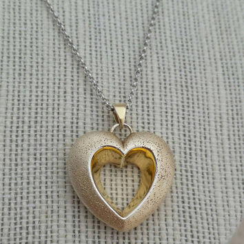 18 kt Gold over Sterling Silver 925 Heart Pendant Necklace, Charles Garnier - Boho Chic / Graduation / Mother's Day / Gift / Classy
