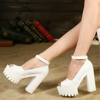 Free shipping 2015 summer style Sexy Open Toe High Heel Sandals Thick Heel Sandals Hasp Fashion Platform Shoes Women High