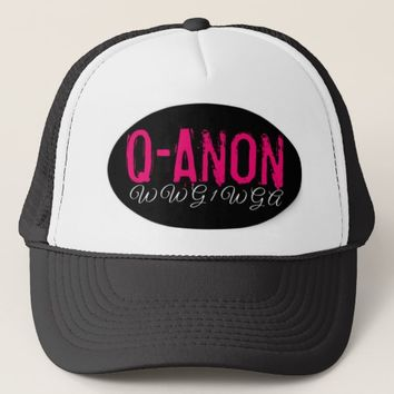 WWG1WGA QANON BLACK & PINK & WHITE WOMEN'S HAT