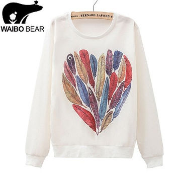 Rainbow Feathers of Love Casual Hoodie Loose Fit Outerwear