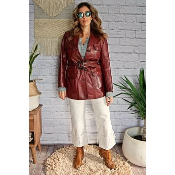 Vintage 1970s Leather + Belted Safari Jacket