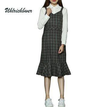 2017 Young girl's & Students Camisoles Plaid Fishtail Long Dress Women V-Neck Vintage Loose Lady Sleeveless Dress Vestidos Q6608