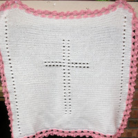 Christening blanket Baby afghan Christening gift baptism blanket crochet heirloom unisex boy or girl cross angel themed Made to order