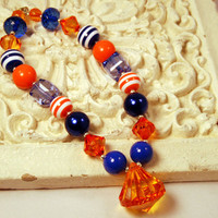 Girls Chunky Beaded Florida Gator Necklace Kids Boutique Jewelry Blue and Orange infant and baby jewelry