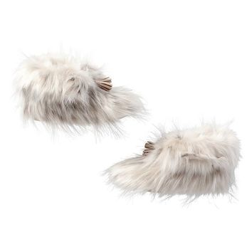 Ankle Tassel Faux-Fur Booties, Snow Cat