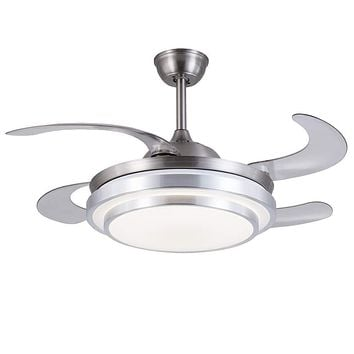 """42"""" Ceiling Fans with Lights and Remote Control, 4 Blade Invisible Ceiling Fan Chandelier"""