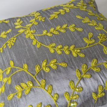 Decorative Throw Pillow Covers - Handcrafted Grey Yellow Pillow Cases Embellished with Sequin Beads Detail in Floral Pattern- Beaded Sofa Pillowcases in Grey Faux Silk- Silk Pillows Covers -Accent Pillows Covers - Gift Pillow - Modern Couch Pillows Covers