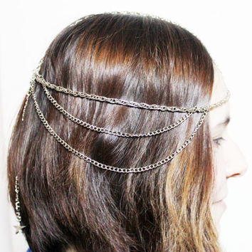 Silver Chain Headpiece- Headdress- Hair Jewelry -Boho -Bohemian- Hippie Hipster -Gypsy- Beach Style