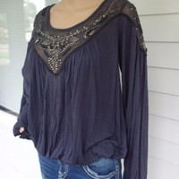 Free People Embellished Viscose Blouse L XL Blue Top Shirt Casual Boho Hippie