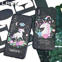 LACK Colorful Flower Unicorn Phone Case For iphone X Case For iphone 6 6S 7 8 Plus Cover Fashion Retro Soft Cases Cartoon Capa