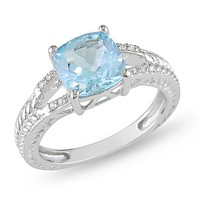 2 1/2 Carat Blue Topaz and Carat Diamond Fashion Ring in Sterling Silver