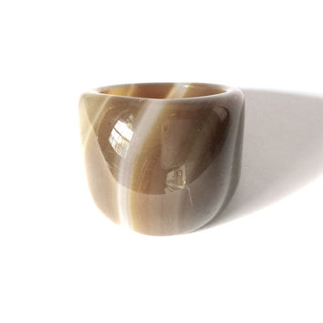 Brown Agatha Cocktail Ring Size 6.5 Polished True Rock Glass Stone Statement handmade Jewelry