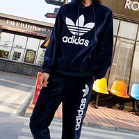 Adidas Casual Print Hoodie Top Sweater Pants Trousers Set Two-piece Sportswear Navy blue