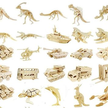 DIY Kids 3D Wooden Puzzles Animal Airplane Model Assembling Building Kits IQ Educational Toys for Children