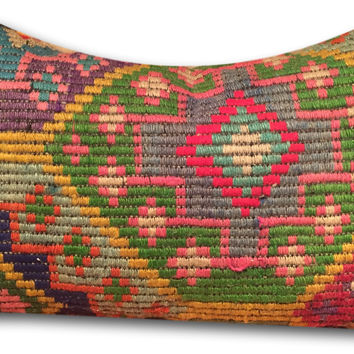 Vintage Turkish Kilim Rug Pillow & Cover Lumbar 20""