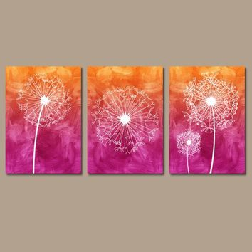 DANDELION Wall Art, Watercolor Ombre Flowers, Hot Pink Orange, CANVAS or Prints, Bathroom Decor, Dorm Room, Dandelion Decor, Set of 3