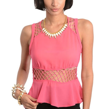 Mesh Hi-Low Peplum Top