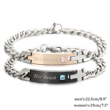 Unique Cross Stainless Steel Bracelets  for Lovers and Couple - Her King/His Queen or her Beast/hisBeauty