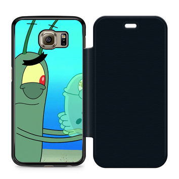 Plankton Spongebob Squarpants Leather Wallet Flip Case Samsung Galaxy S6