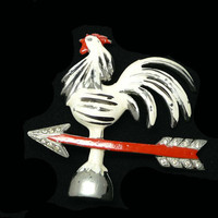 Rooster Weathervane Brooch - Enamel White, Red & Black Chicken and Arrow Pin - Figural Vintage Jewelry