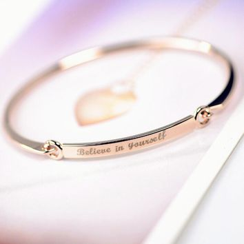 DCEE Custom Name Bracelet Bangle  Personalized Initial Name Gold Bar Copper Bracelet Bangle laser Engraved jewelry bijoux youth