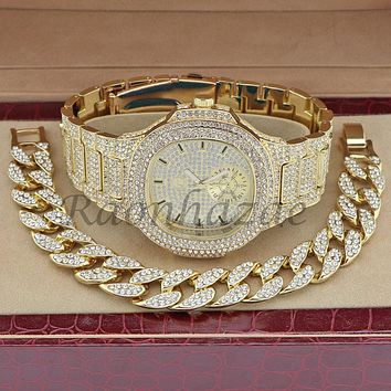 MEN ICED OUT 14K GOLD PT LUXURY BLING WATCH CUBAN BRACELET COMBO SET FM10G