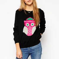 Black Owl Print Knitted Pullover Sweater