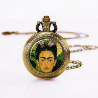 Frida Kahlo Necklace, Painting  Pocket Watch , ART Battery Watch Necklace,Sweater Necklace, Fashion gifts