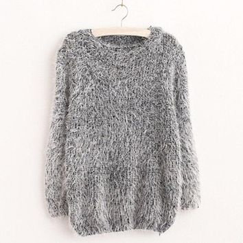 Mohair Casual Pullover Sweater