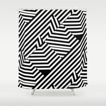 Trendy Black and White Graphic Stripes Shower Curtain by PTK Designs