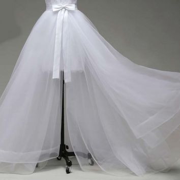 only detachable train three layers of silky organza  not included wedding dress