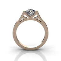 Modern 14K Rose Gold 1.0 Ct Luxurious Engagement Ring or Wedding Ring with a White Sapphire Center Stone R667-14KRGWS