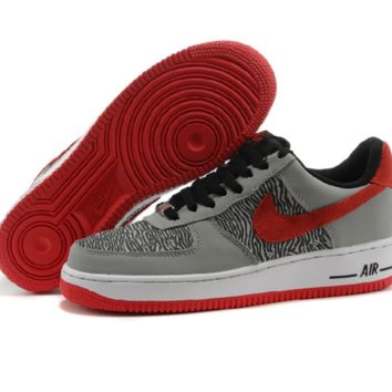 NIKE Women Men Running Sport Casual Shoes Air force low tops Grey red