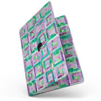 Purple and Green Watercolor Patchwork - MacBook Pro without Touch Bar Skin Kit