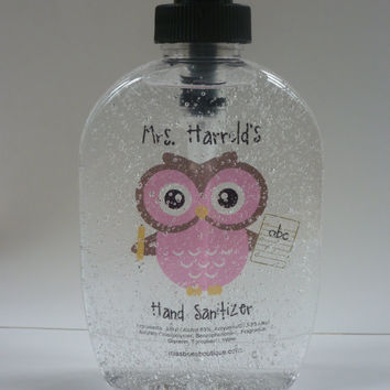 COLORED Personalized Pink Owl Hand Sanitizer with pencil and notebook paper Hand sanitizer 8 oz  great for back to school teacher gift NEW