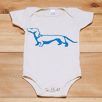from here to there Dachshund Onesuit, Baby Onesuit, Baby Gift, 3-6 or 6-12 Months