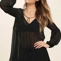 Celestial Being Sheer Black Long Sleeve Tunic Top
